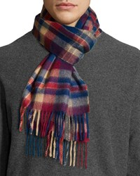 Neiman Marcus Cashmere Plaid Scarf W Fringe Red Blue Camel Gray Blue Red