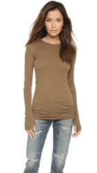 Enza Costa Cuffed Crew Top Camel