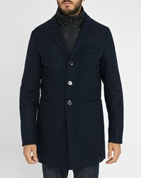 Scotch And Soda Navy Wool Removable Liner Overcoat