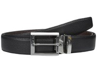 Tumi Pebbled Harness Reversible Belt Nickel Satin Reversible Men's Belts Black