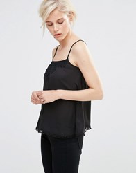 Girls On Film Cami Top With Lace Detail Black
