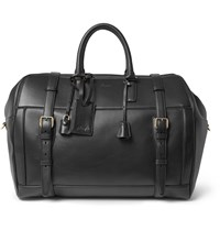 Brioni Panelled Leather Duffle Bag Black