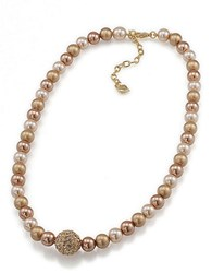 Carolee Faux Pearl Single Strand Necklace Gold Multi