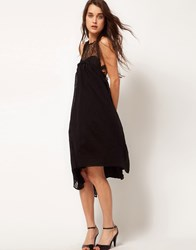 Kore By Sophia Kokosalaki Self Stripe Eye Motif Swing Dress Black