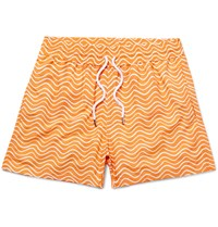Frescobol Carioca Ondas Printed Swim Shorts Orange