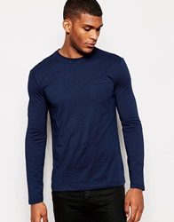 Reiss Long Sleeve Top With Pocket Navy