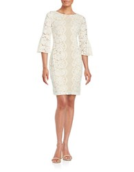 Gabby Skye Floral Lace Sheath Dress Cream Nude