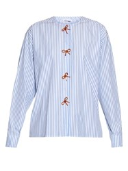 J.W.Anderson Bow Embellished Striped Cotton Shirt Blue White