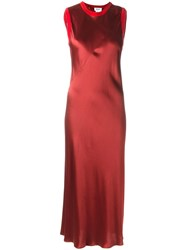 Dkny Bias Cut Satin Dress Red