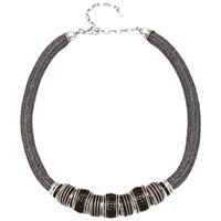 Adele Marie Statement Mesh Bead Necklace Silver Black