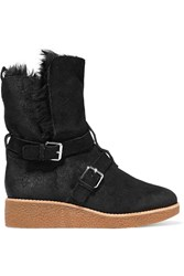 Rebecca Minkoff Perry Buckled Suede Boots Black