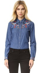 The Kooples Embroidered Denim Button Down Blue