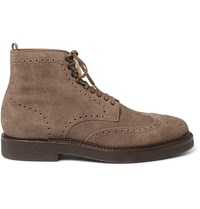 Officine Creative Harvard Brogue Detailed Suede Boots Neutrals