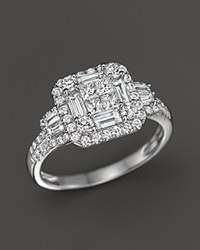 Bloomingdale's Diamond Princess Cut Statement Ring In 14K White Gold 1.30 Ct. T.W.