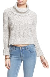 Women's Free People 'Twisted Cable' Turtleneck Sweater Ivory Combo