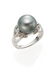 Effy 11.5Mm Round Gray Tahitian Freshwater Pearl And 14K White Gold Ring Silver
