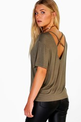 Boohoo Mesh Insert Top Strappy Back Top Khaki