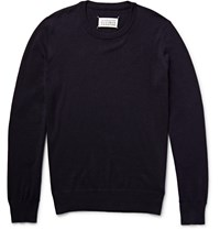 Maison Martin Margiela Elbow Patch Cotton And Wool Blend Sweater Blue