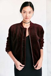 J.O.A. Vegan Pony Hair Bomber Jacket Maroon