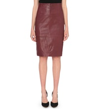 Karen Millen Leather Pencil Skirt Purple