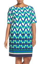 Eliza J Plus Size Women's Geo Border Print Matte Jersey Shift Dress Teal Black Blue