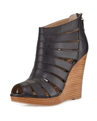 Sarah Jessica Parker Bailey Leather Wedge Sandal Black