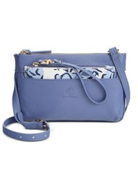 Giani Bernini Floral Print 2 In 1 Small Leather Crossbody Only At Macy's Blue