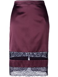 Givenchy Lace Panel Pencil Skirt Red