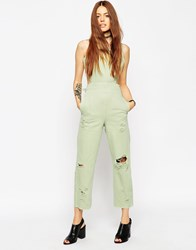 Asos Denim Wide Leg Cut Out Jumpsuit In Mint With Rips Green