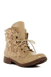 Rock And Candy Spraypaint Lace Up Boot Beige