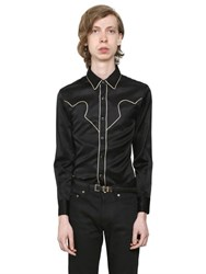 Saint Laurent Contrast Piping Viscose Satin Rock Shirt
