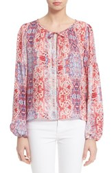Women's Parker 'Persimmon' Print Silk Peasant Blouse
