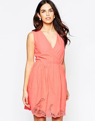 Lavand V Neck Skater Dress With Lace Hem Sl