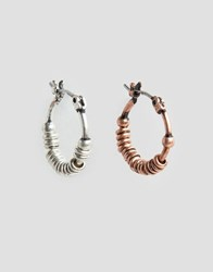 Asos Hoop Earring Pack In Burnished Copper And Silver Multi