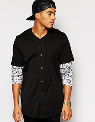 Asos Skater Long Sleeve T Shirt With Button Up And Printed Sleeves Black