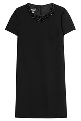 Boutique Moschino Wool Dress With Beaded Embellishment Black