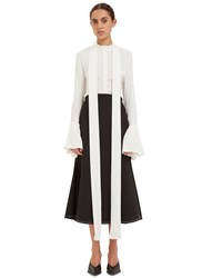 Ellery Little Me Ruffled Cuff Silk Shirt White