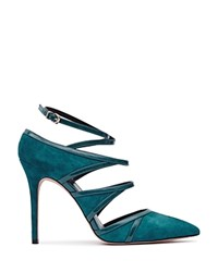 Reiss Odin Strappy Pointed Toe Court Pumps Deep Ocean