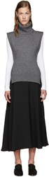 Rosetta Getty Charcoal Wool Turtleneck Poncho
