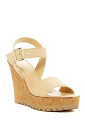 Italian Shoemakers Ankle Strap Wedge Sandal Beige