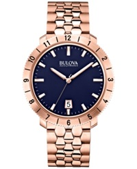 Bulova Accutron Ii Men's Moonview Rose Gold Tone Stainless Steel Bracelet Watch 42Mm 97B130