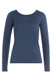 Velvet Long Sleeved Top With Cotton Blue