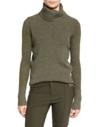 Veronica Beard Asa Ribbed Cashmere Turtleneck Sweater Army Army Green