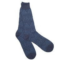 Anonymous Ism Indigo Jacquard Crew Socks Blue