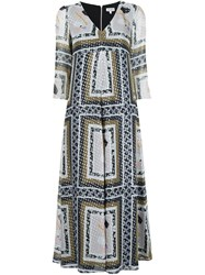 Suno Metallic Printed V Neck Dress Multicolour