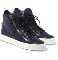 Giuseppe Zanotti Leather High Top Sneakers Navy