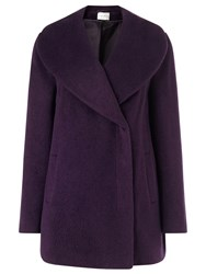 Eastex Drawn Shawl Collar Coat Purple