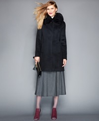 The Fur Vault Removable Fox Fur Collar Cashmere Coat Black