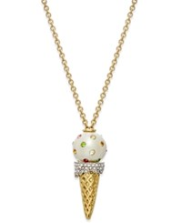 Kate Spade New York Gold Tone Pave Ice Cream Cone Pendant Necklace
