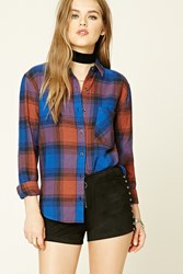 Forever 21 Button Down Plaid Cotton Shirt Royal Brown